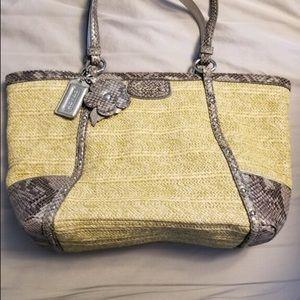 Coach shoulder straw bag